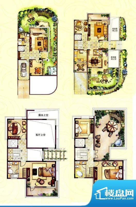 和院别墅F户型 7室3面积:366.00平米