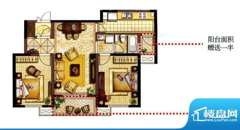 和院高层B户型 2室2面积:108.00平米