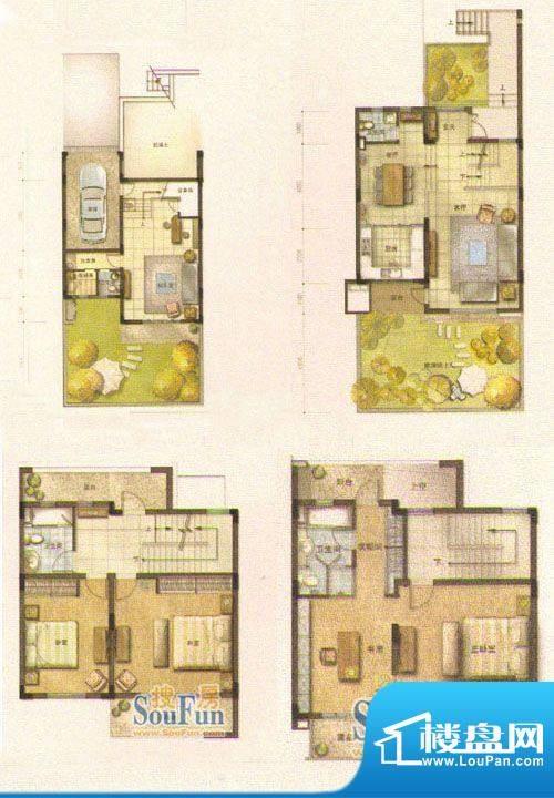 和院A户型 5室3厅4卫面积:268.00平米