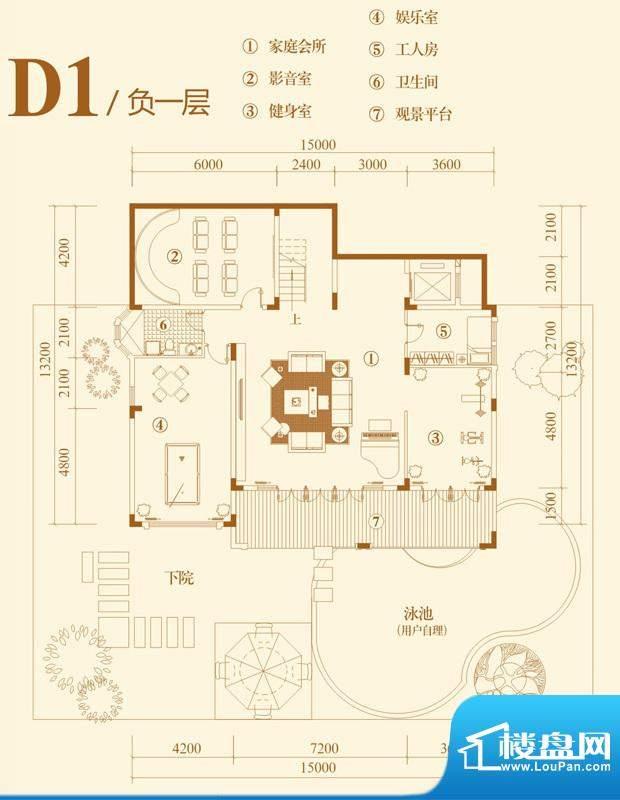 翡翠山D1独栋别墅户面积:421.00平米