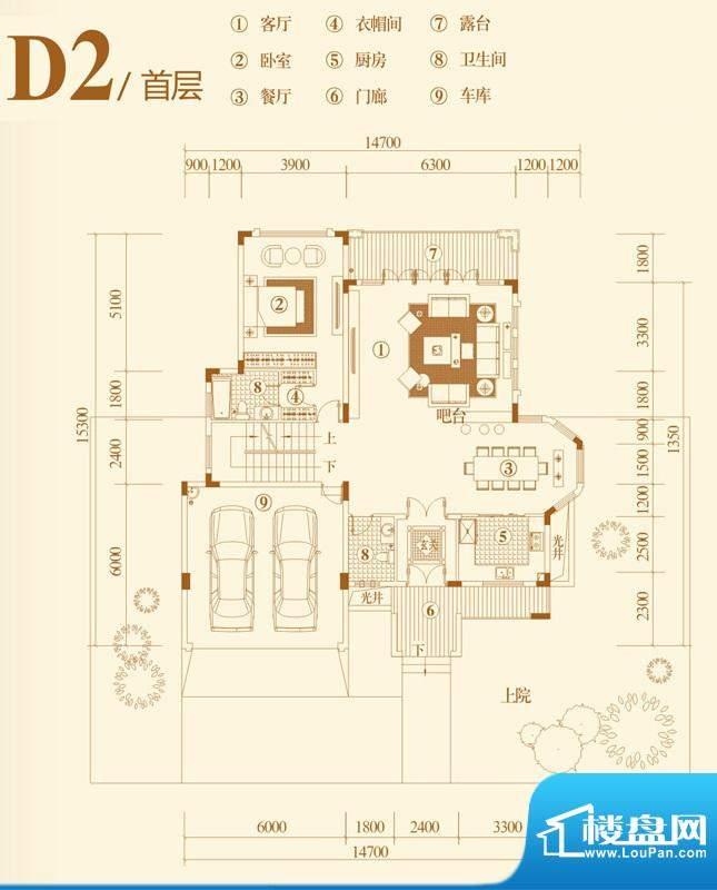 翡翠山D2独栋别墅户面积:353.00平米