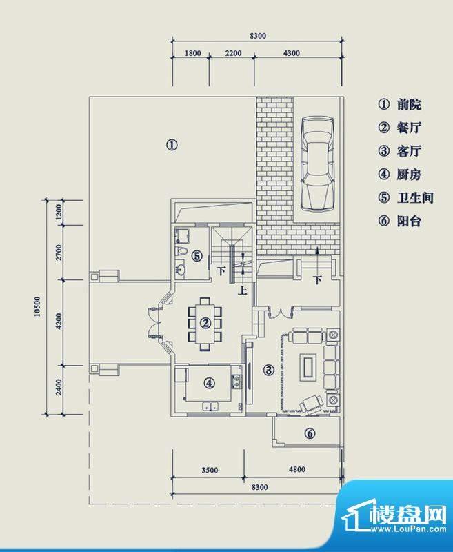 翡翠山T5户型1层 4室面积:195.20平米