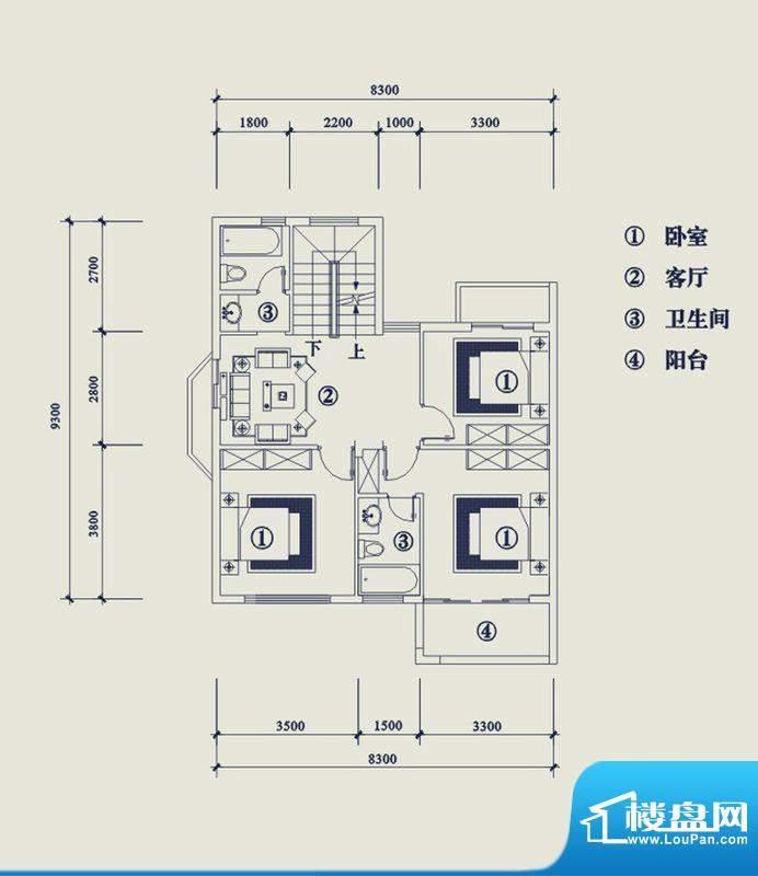翡翠山T5户型2层 4室面积:195.20平米