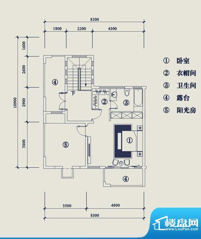 翡翠山T5户型3层 4室面积:195.20平米