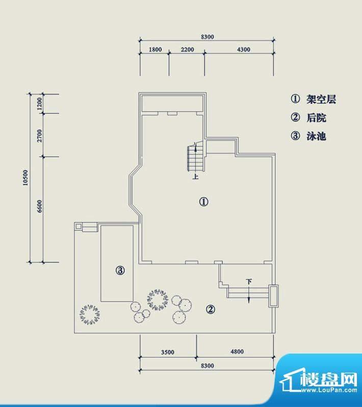翡翠山T5架空层 4室面积:195.20平米