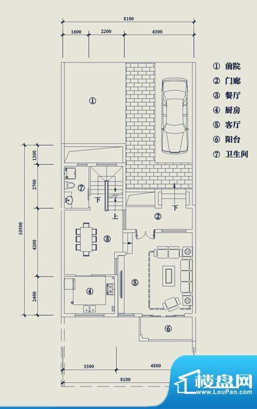 翡翠山T6户型1层 4室面积:187.30平米