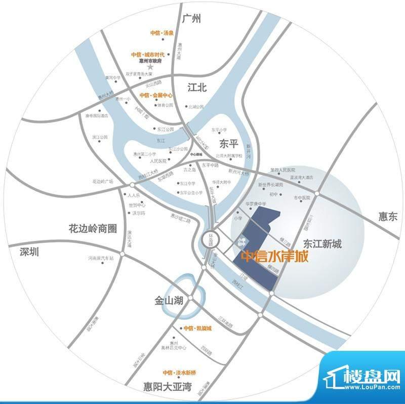中信水岸城花园交通图