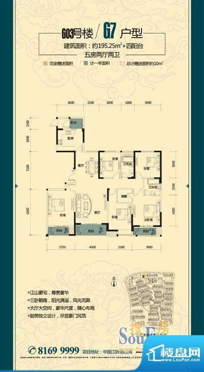 金科东方大院御天下面积:195.25平米