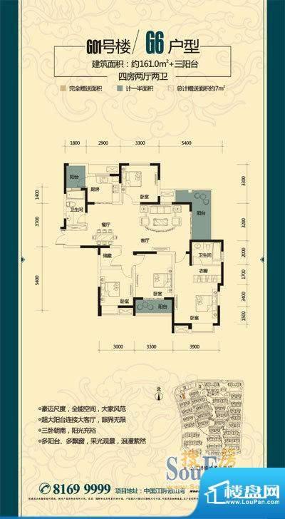 金科东方大院御天下面积:161.00平米