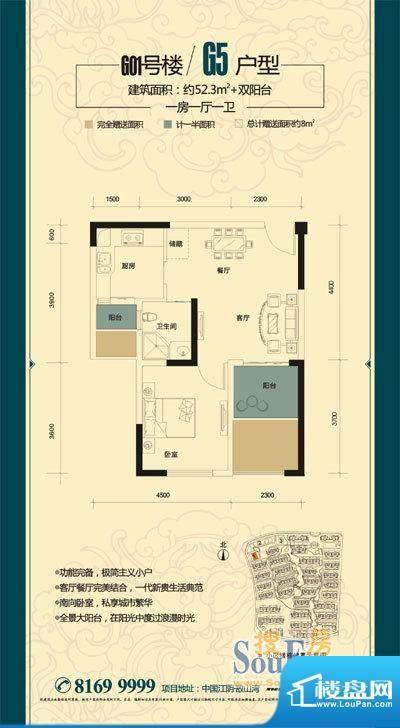 金科东方大院御天下面积:52.30平米
