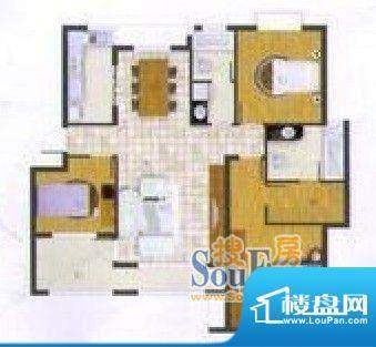 华府家园D户型 3室2面积:140.00平米
