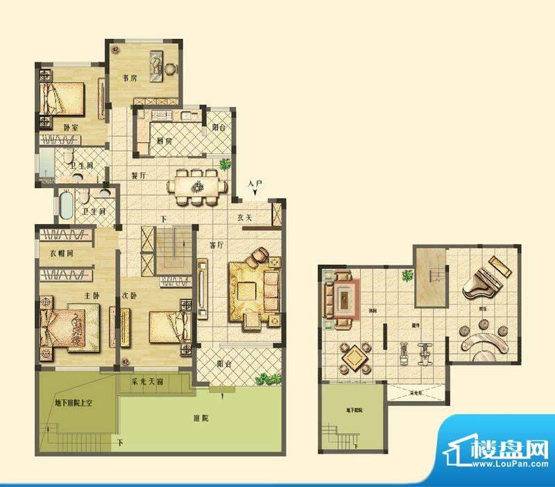 长江御园洋房F1户型面积:168.00平米