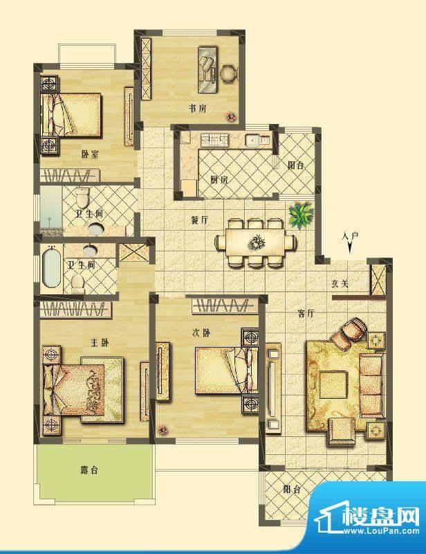 长江御园洋房F3户型面积:154.00平米