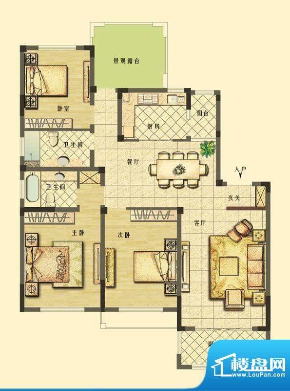 长江御园洋房F4户型面积:142.00平米