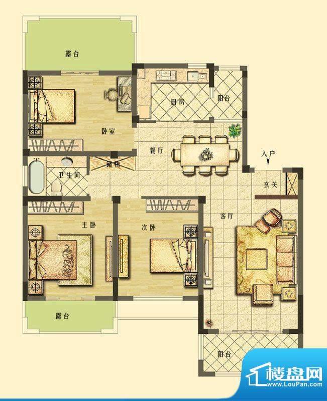 长江御园洋房F5户型面积:127.00平米