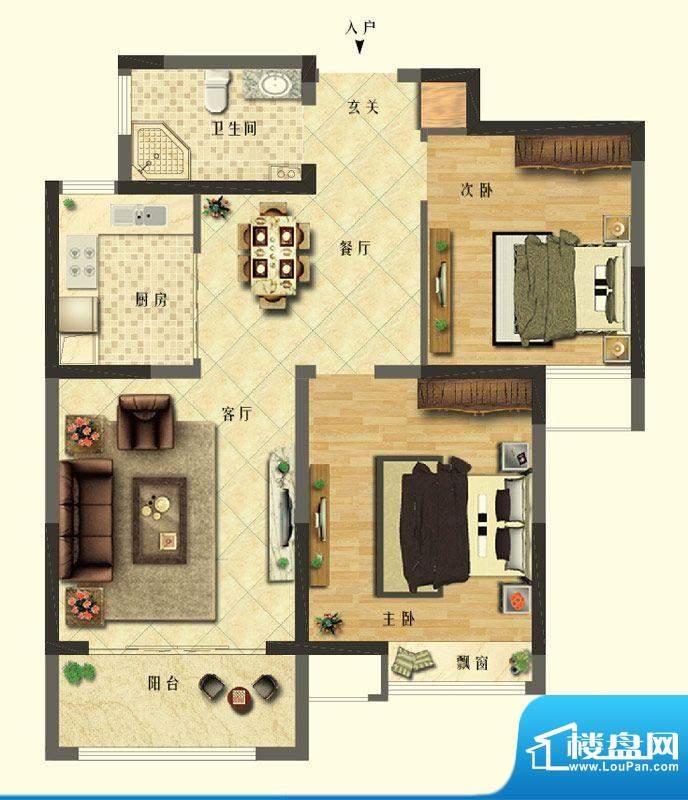 长江御园公寓A户型 面积:91.00平米
