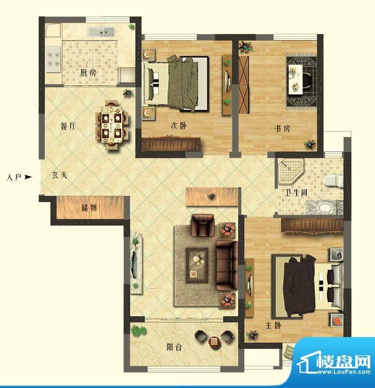 长江御园公寓B户型 面积:120.00平米
