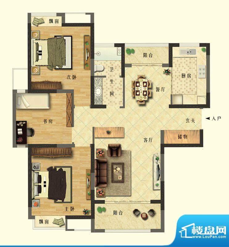 长江御园公寓C户型 面积:128.00平米