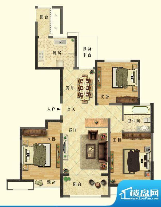 长江御园公寓D户型 面积:130.00平米