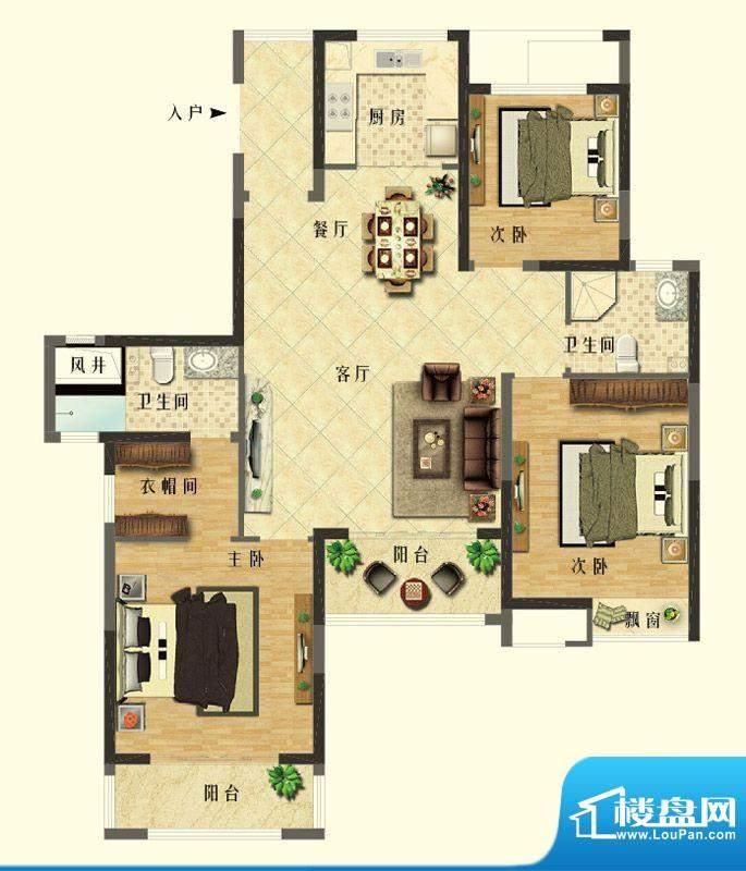 长江御园E户型 3室2面积:143.00平米