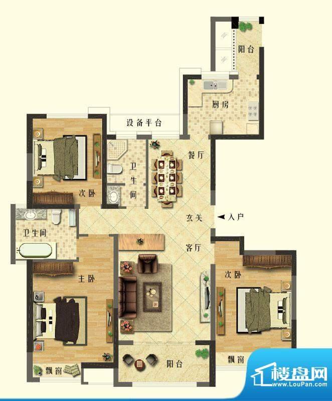 长江御园公寓F户型 面积:140.00平米