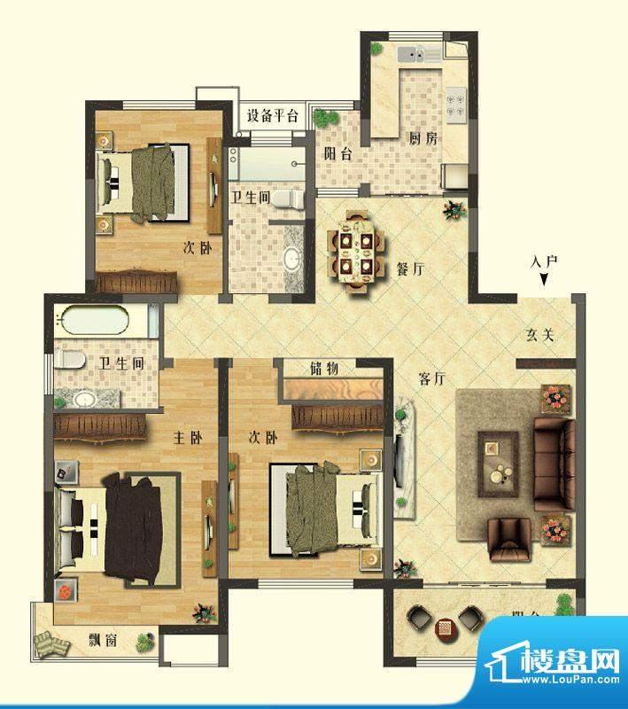 长江御园公寓G户型 面积:140.00平米
