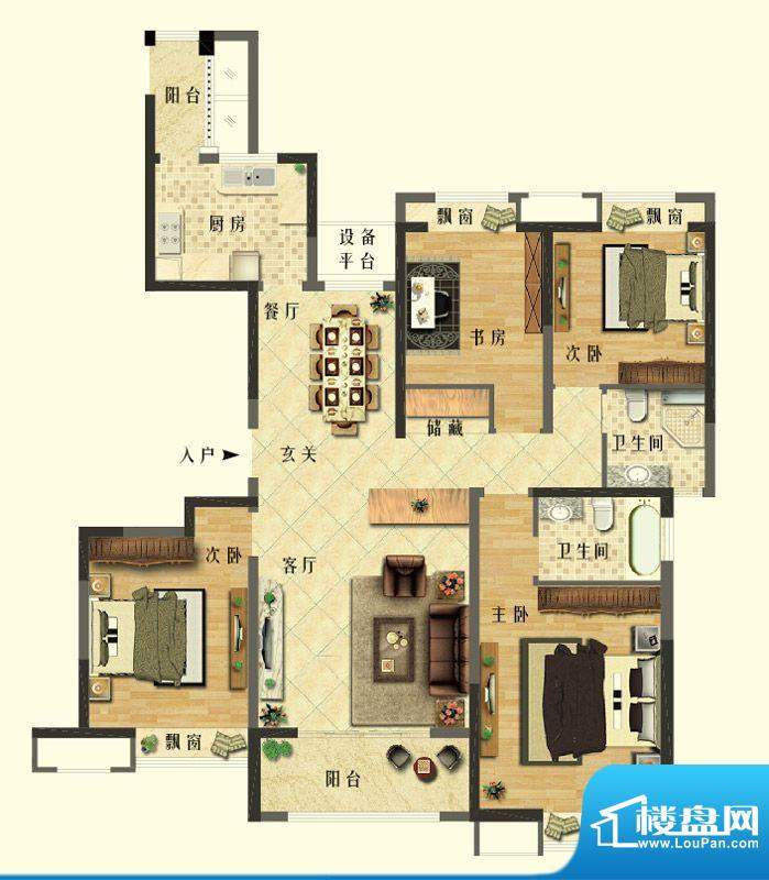 长江御园公寓H户型 面积:160.00平米