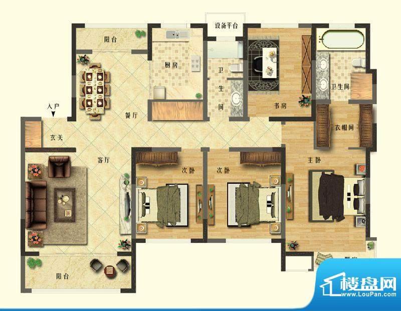 长江御园公寓I户型 面积:189.00平米