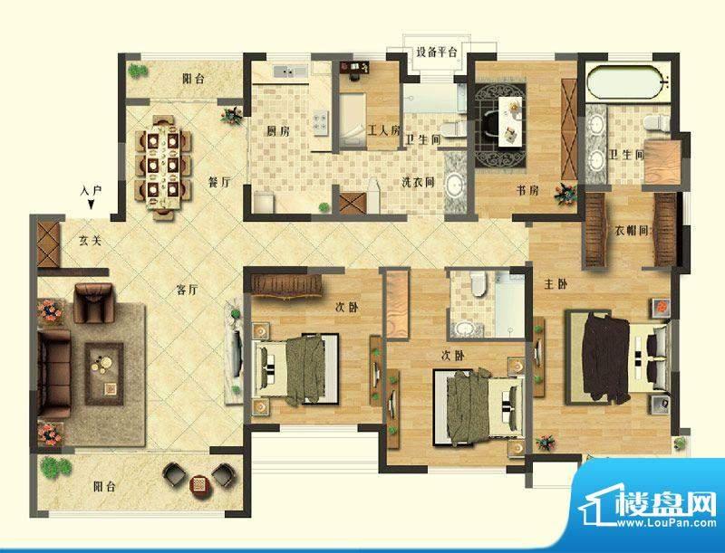长江御园公寓J户型 面积:210.00平米