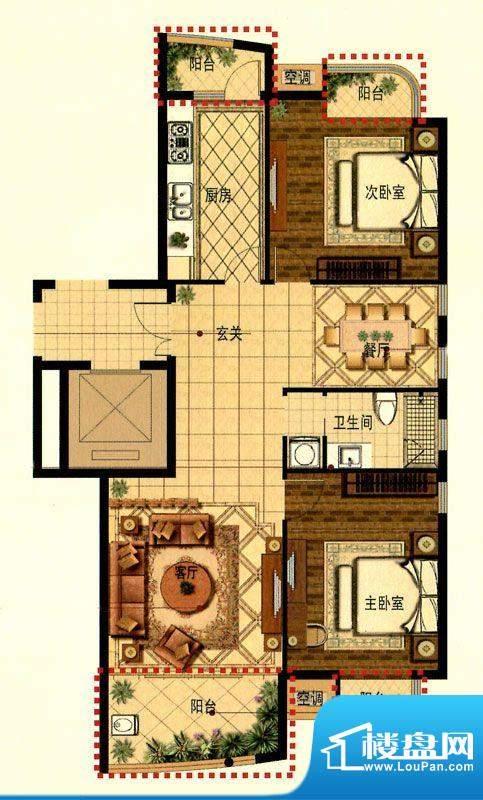 蟠龙湾高层B户型 2室面积:100.00平米