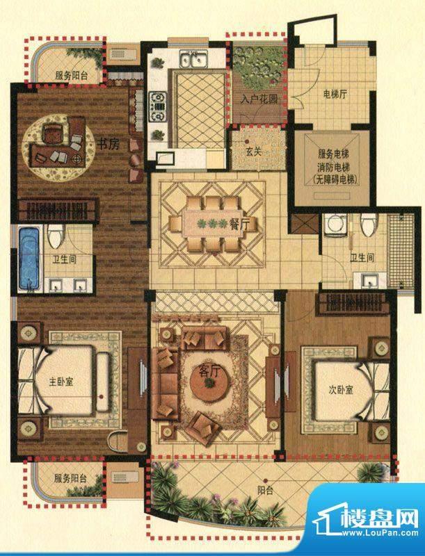 蟠龙湾高层D户型 3室面积:140.00平米
