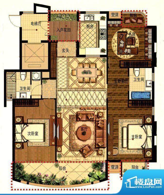 蟠龙湾高层E户型 3室面积:155.00平米
