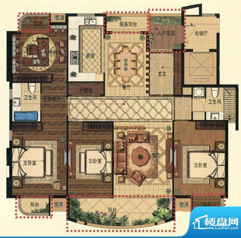 蟠龙湾高层F户型 4室面积:190.00平米