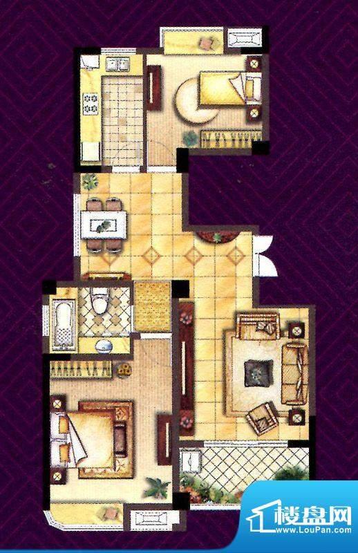 翰庭C户型 2室2厅1卫面积:93.00平米
