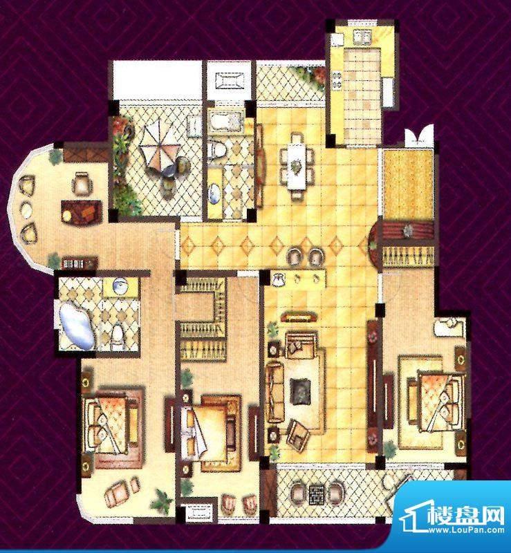 翰庭E户型 4室2厅2卫面积:209.00平米