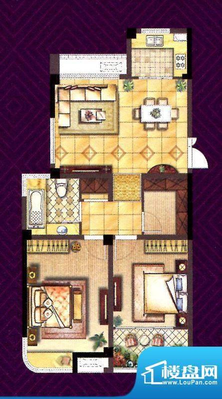 翰庭F户型 2室2厅1卫面积:90.00平米