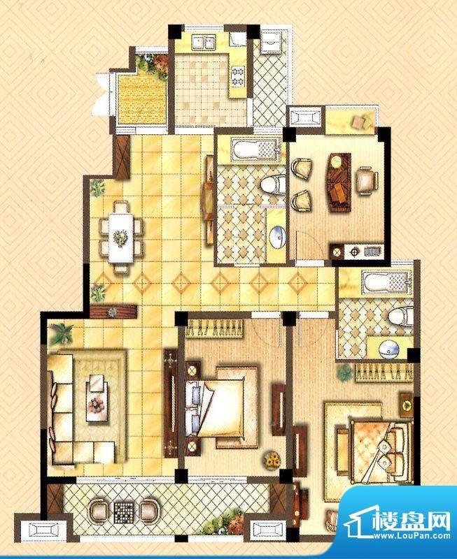 翰庭A户型 3室2厅2卫面积:142.00平米