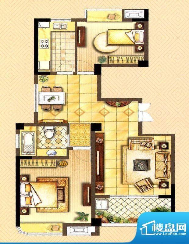 翰庭D户型 2室2厅1卫面积:93.00平米