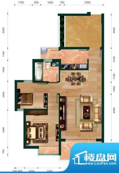 翠堤尚园抚琴户型 2面积:85.72平米
