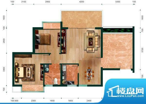 翠堤尚园品茗户型 2面积:76.67平米
