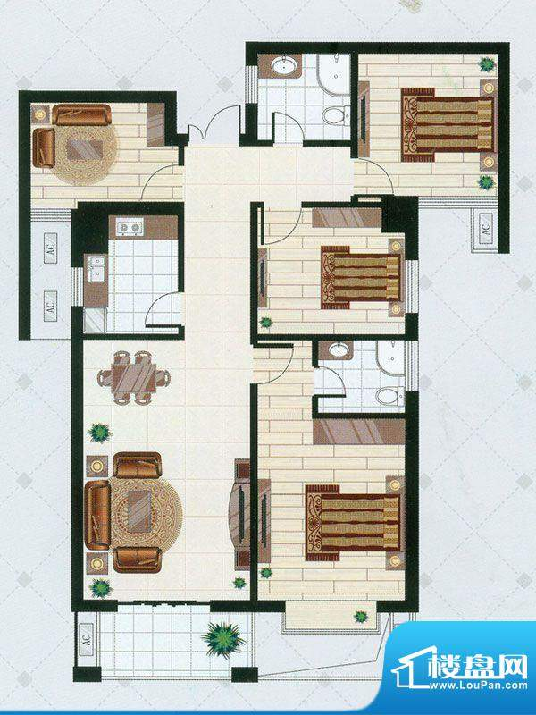 凯仑帝景B2户型 4室面积:125.97平米