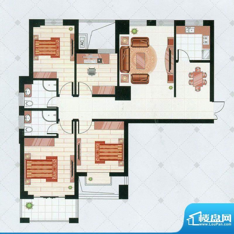 凯仑帝景A1户型 4室面积:131.66平米