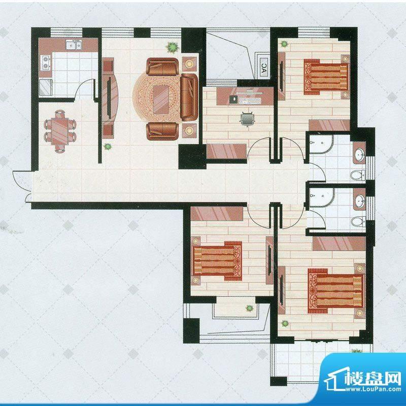 凯仑帝景A2户型 4室面积:131.66平米