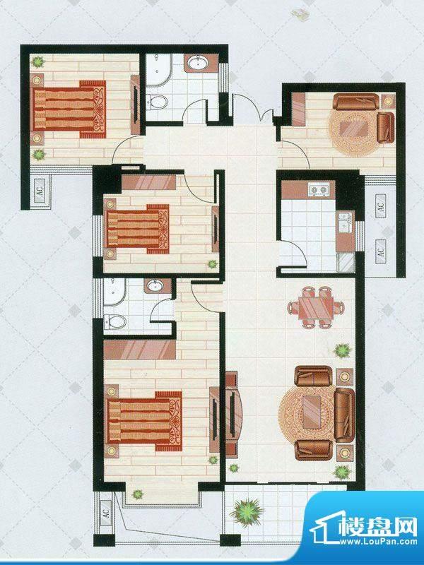 凯仑帝景B1户型 4室面积:125.97平米