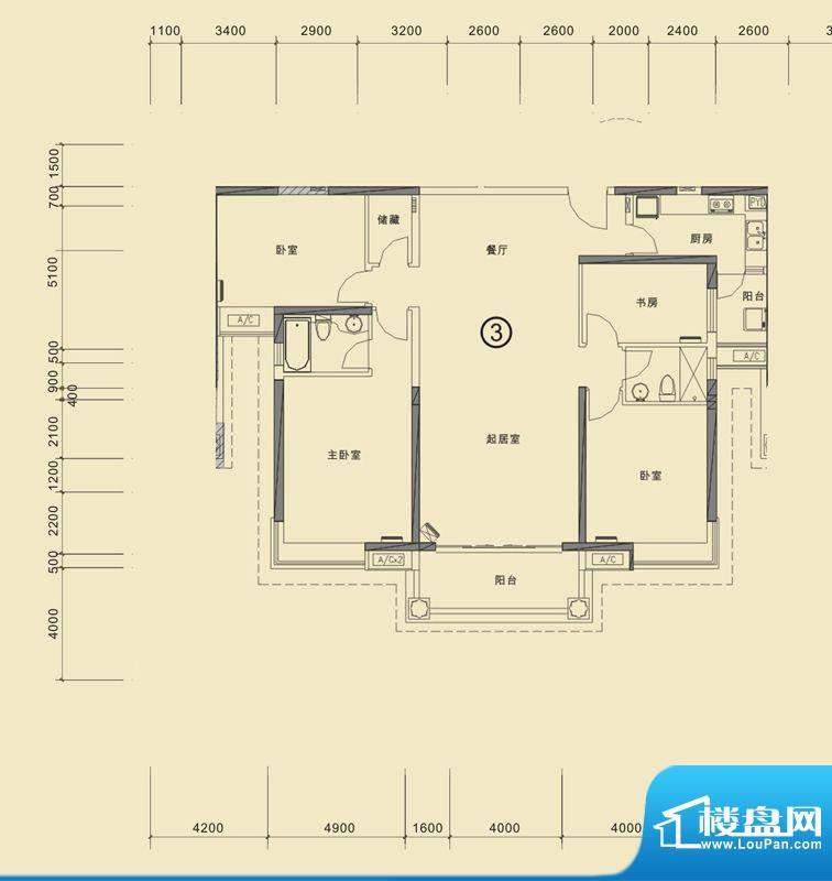 合生滨海城山海公寓面积:159.00平米