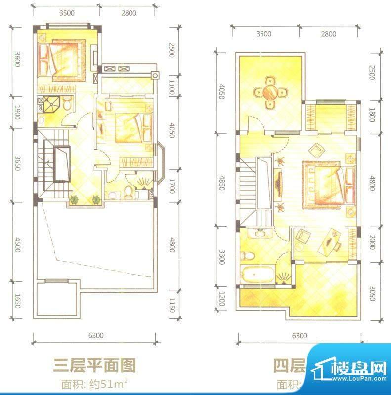 合生滨海城联排别墅面积:261.00平米