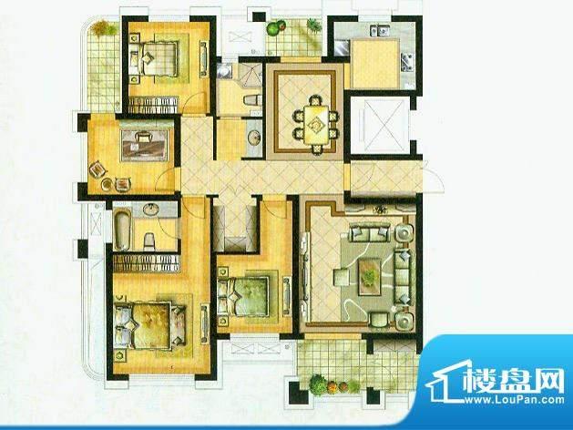 水绘绿源O户型 4室2面积:161.00平米