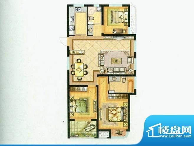 水绘绿源H户型 3室2面积:126.00平米