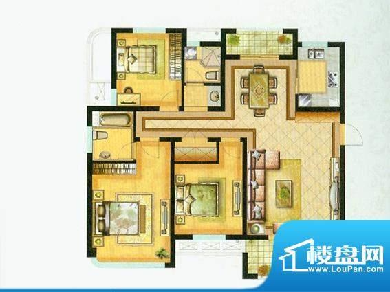 水绘绿源L户型 3室2面积:137.00平米