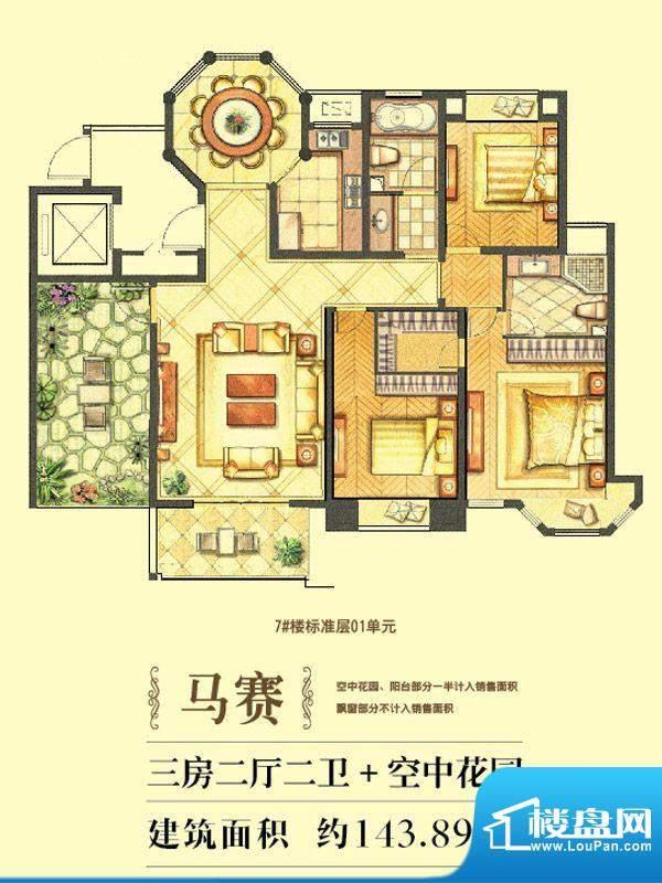 水榭花城马赛户型 4面积:143.89平米